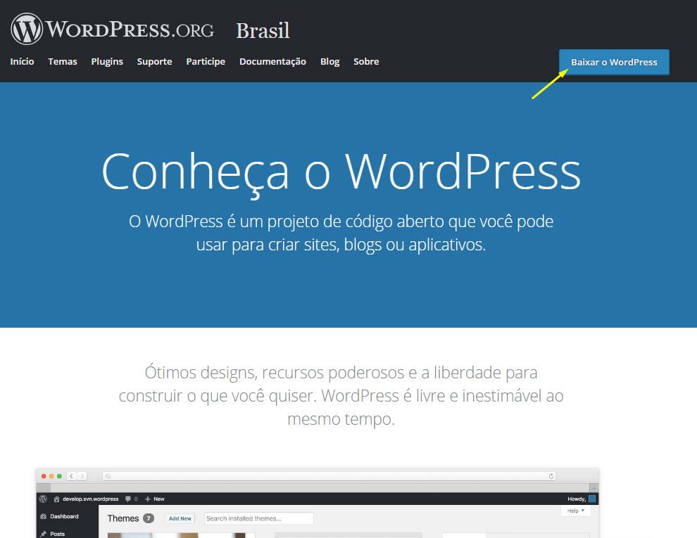 B2B Host - Tutorial de como instalar o WordPress - Passo 2.