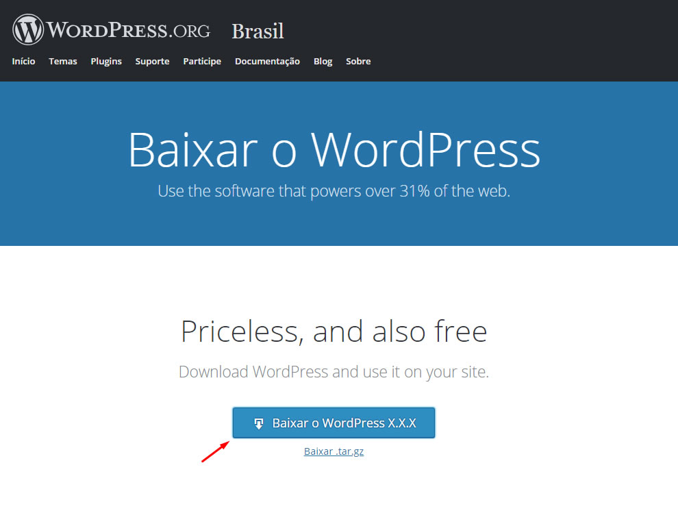 B2B Host - Tutorial de como instalar o WordPress - Passo 3.