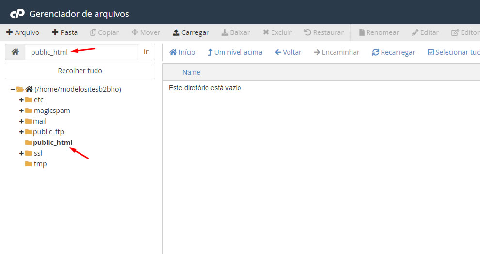 B2B Host - Tutorial de como instalar o WordPress - Passo 5.