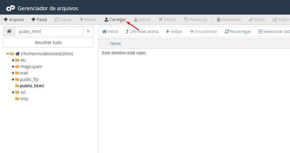 B2B Host - Tutorial de como instalar o WordPress - Passo 6.