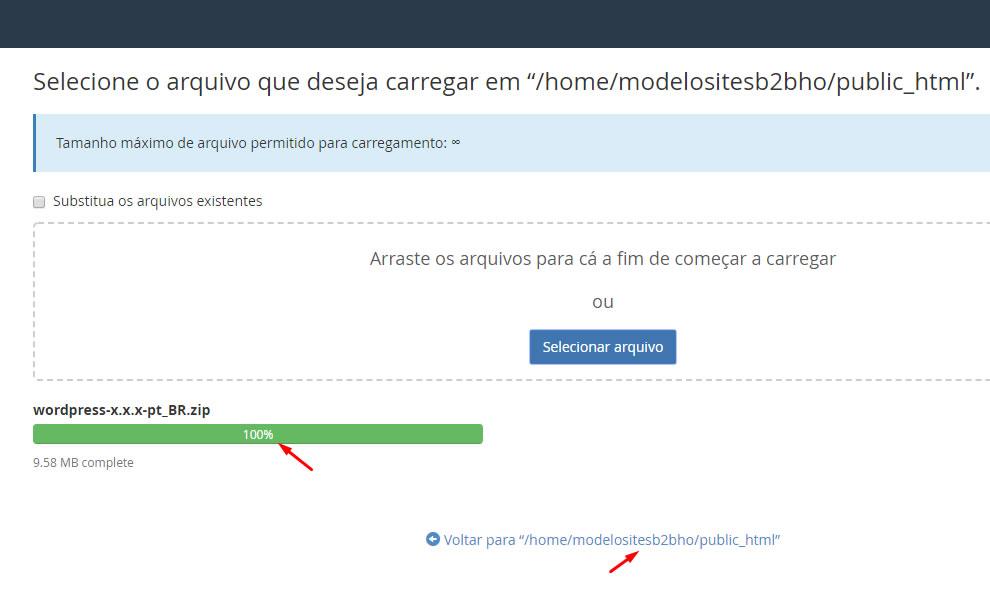 B2B Host - Tutorial de como instalar o WordPress - Passo 9.
