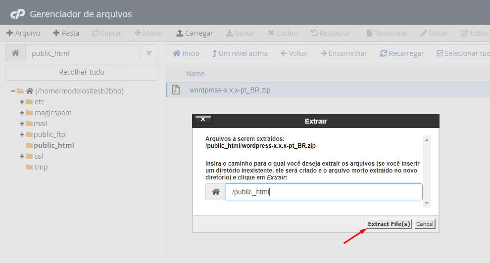 B2B Host - Tutorial de como instalar o WordPress - Passo 11.