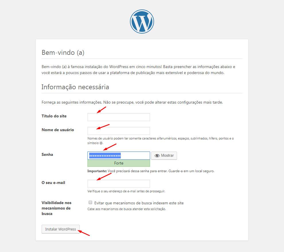 B2B Host - Tutorial de como instalar o WordPress - Passo 26.